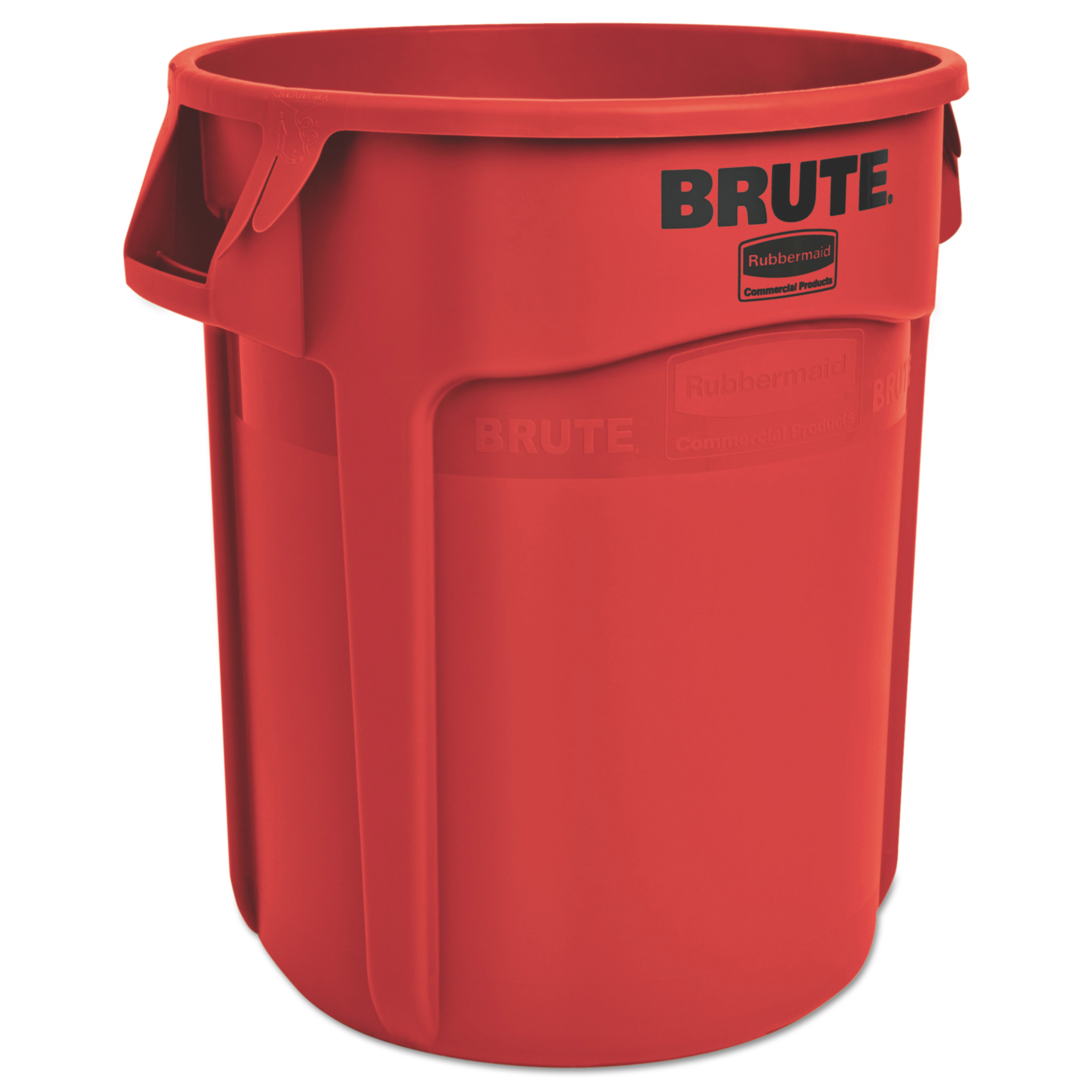 Rubbermaid Commercial Red Plastic 20 Gallon Round Brute Containers, 6 count