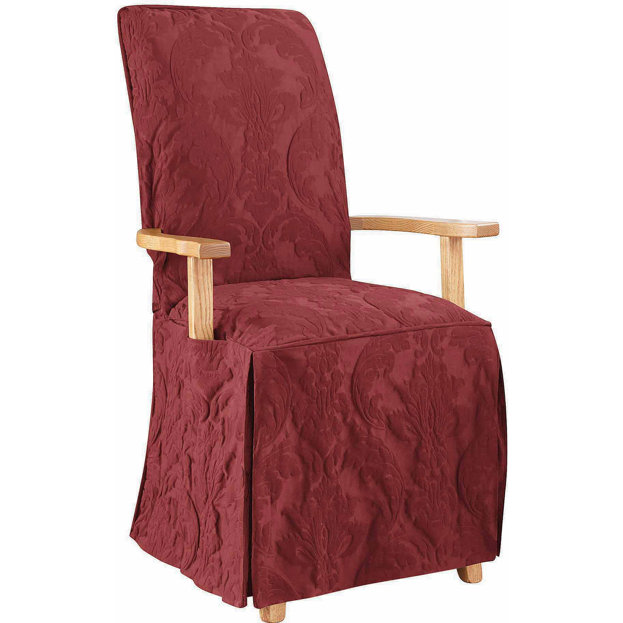 Sure Fit Matelasse Damask Arm Long Dining Chair Slipcover