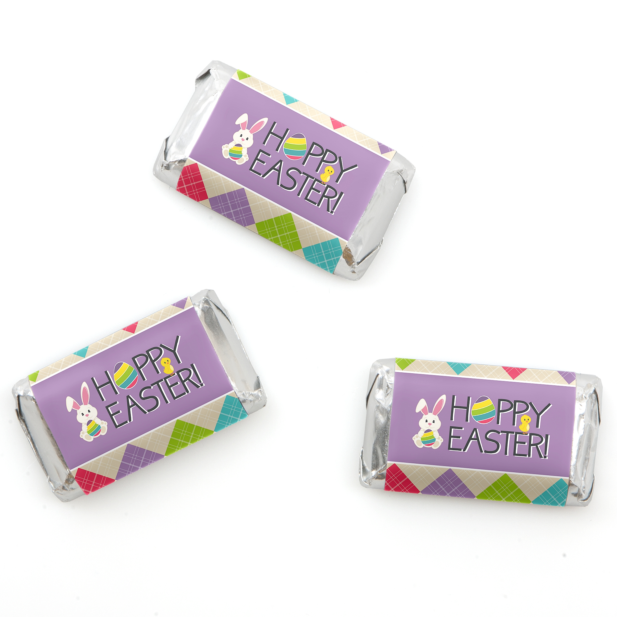 Hippity Hoppity - Mini Candy Bar Wrappers Easter Bunny Party Favors - 20 Count