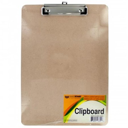 Bulk Buys OR405-24 Wooden Clipboard with Metal Clip - 24 Piece (Mini Clipboards Bulk)