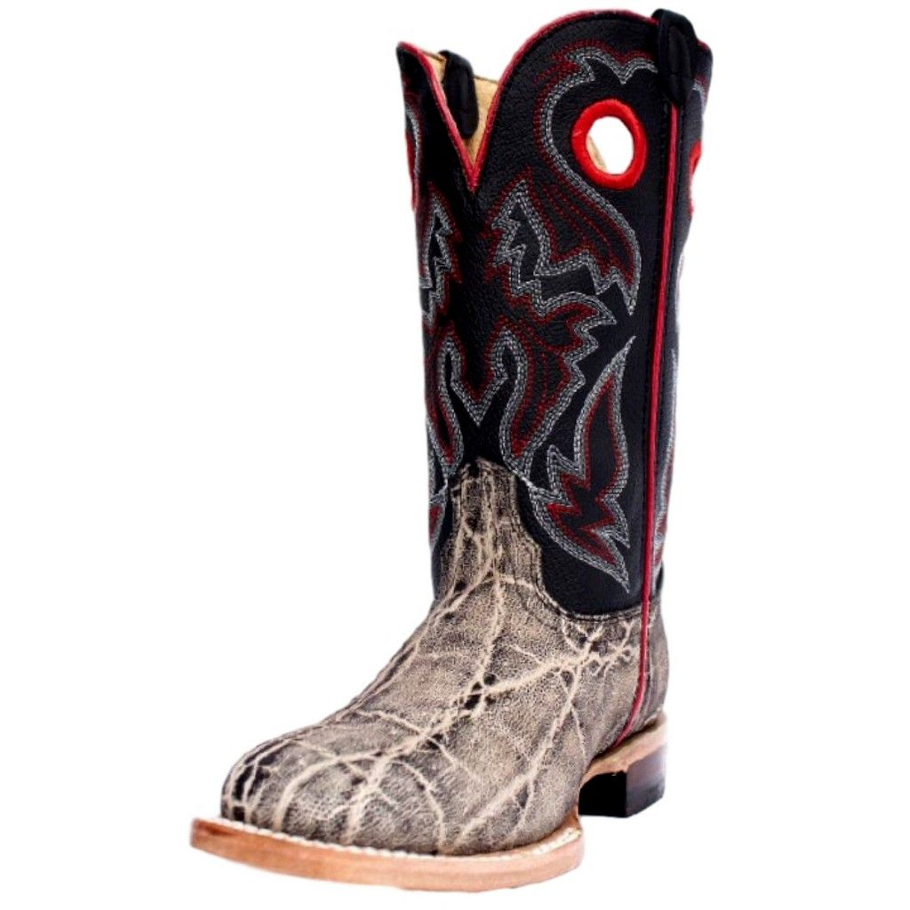 Cinch Western Boots Boys Kid Elephant Print Leather Square Gray KCY125