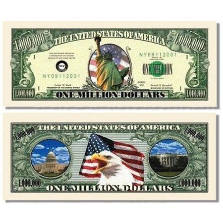 """Lady Liberty Million Dollar Bill with Bonus """"Thanks a Million"""" Gift Card Set and Clear"""