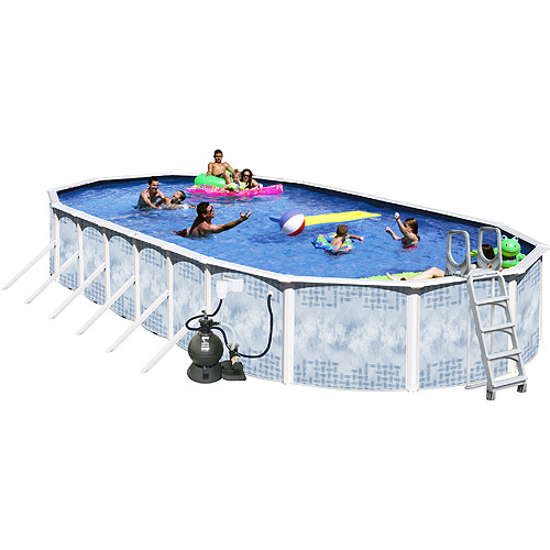 "Heritage Oval 33' x 18' x 52"" Deluxe Above-Ground Swimming Pool, Deep Gold"