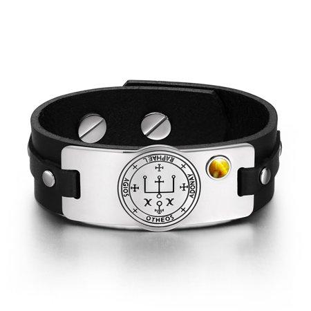 (Archangel Raphael Sigil Magic Powers Amulet Tag Tiger Eye Gemstone Adjustable Black Leather Bracelet)
