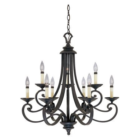 Designers Fountain 9039 Barcelona 9 Light Chandelier in Natural Iron Finish Antique Natural Iron Finish Chandelier