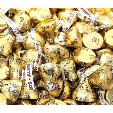 Chocolate Flavored Foil (Hershey's Kisses, Milk Chocolate with Almond, Gold Foils (Pack of 4 Pound))