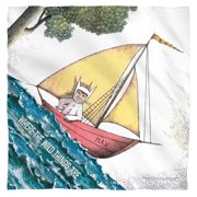 Where The Wild Things Are Max'S Boat Poly 22X22 Bandana White One Size