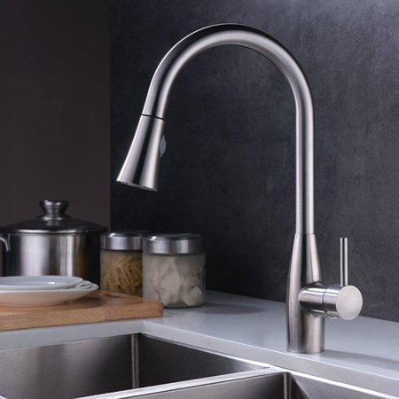 Crea Kitchen Faucet Modern Single Lever Pull Down Sprayer Kitchen