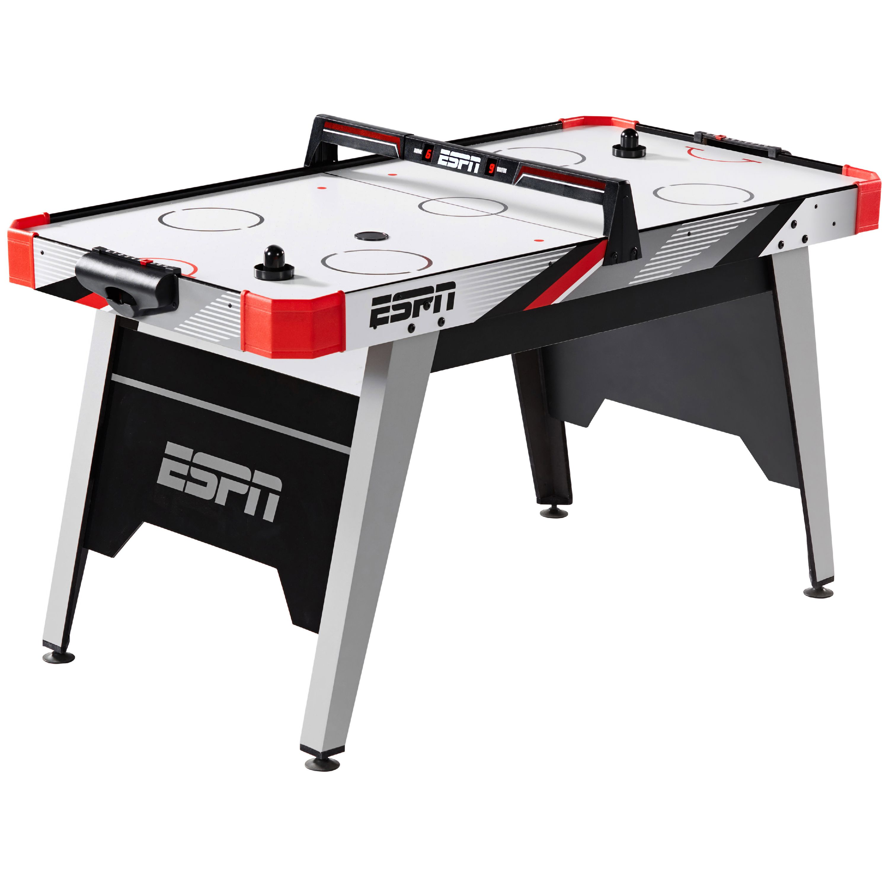 Espn 60 Air Hockey Game Table Led Overhead Electronic Scorer Quick Assembly Red Black Walmart Com Walmart Com