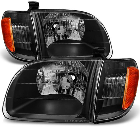 Fits 00-04 Toyota Tundra Regular | Access Cab [Black] Headlights w/ Corner