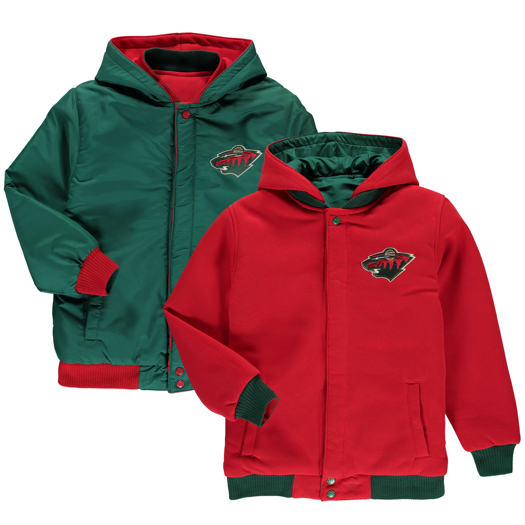 Minnesota Wild JH Design Boy's Youth Fleece-Nylon Reversible Jacket - Green