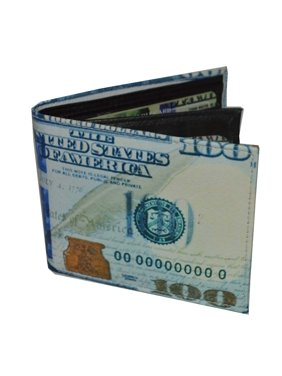 Mens Bifold Exotic Wallet picture 100 dollar bill with printed gift box.
