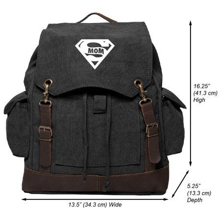 Super Mom Vintage Canvas Rucksack Backpack with Leather
