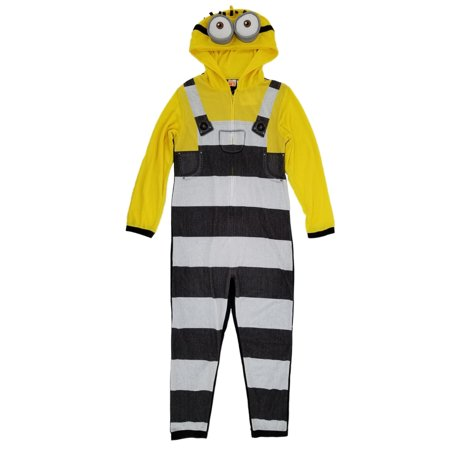 Despicable Me 3 Mens Minion Character Costume Union Suit Hooded Pajamas (Despicable Me Characters Costumes)