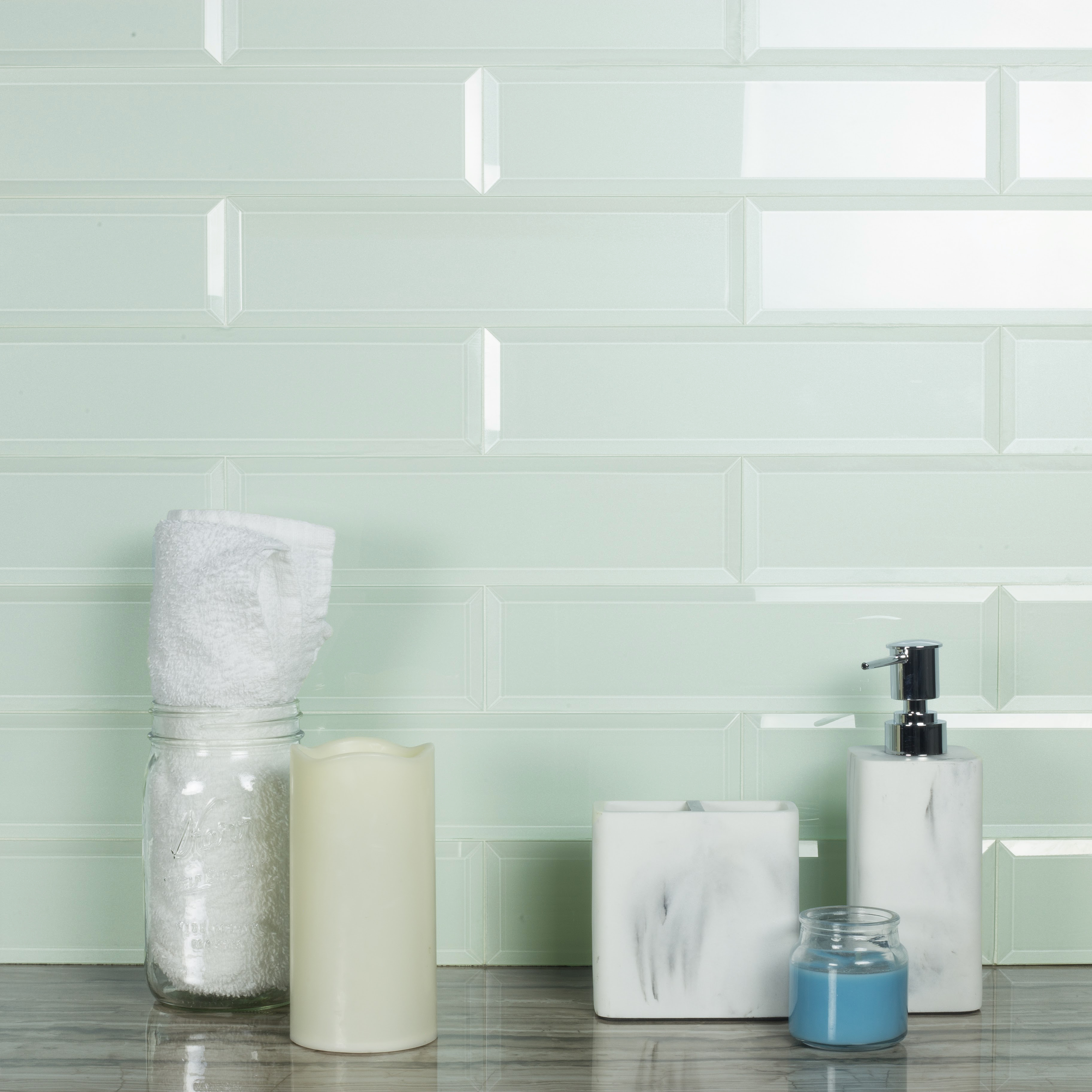 "Abolos- Frosted Elegance 3"" x 12"" Glass Subway Tile in Glossy Arctic (14sqft / 56pc Box)"