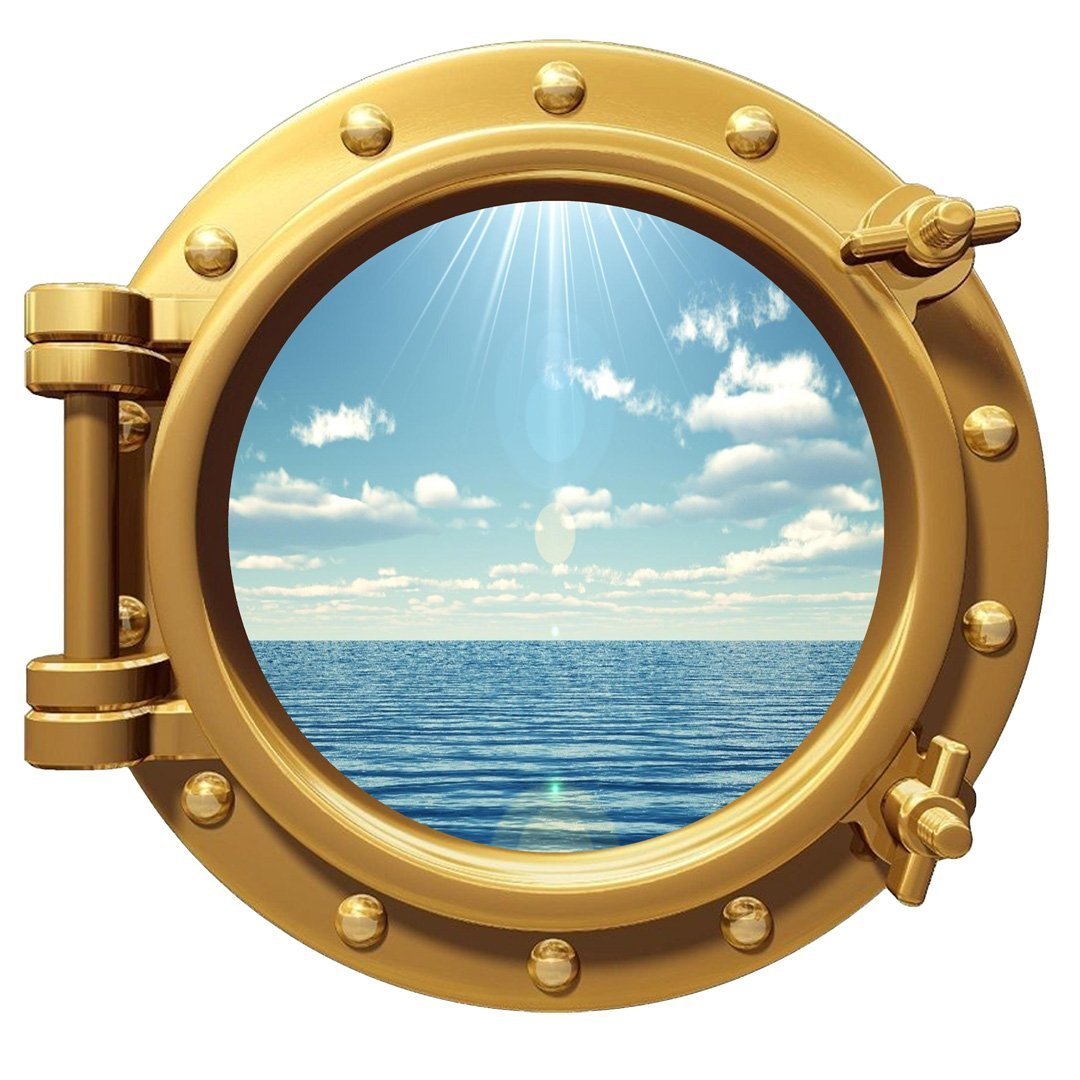 VWAQ Ocean View Wall Sticker Porthole Nature Sea View Window Decal Peel and Stick Mural PO99