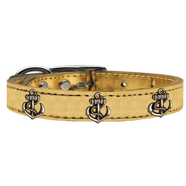 Bronze Anchor Widget Genuine Metallic Leather Dog Collar Gold 10 - image 1 de 1
