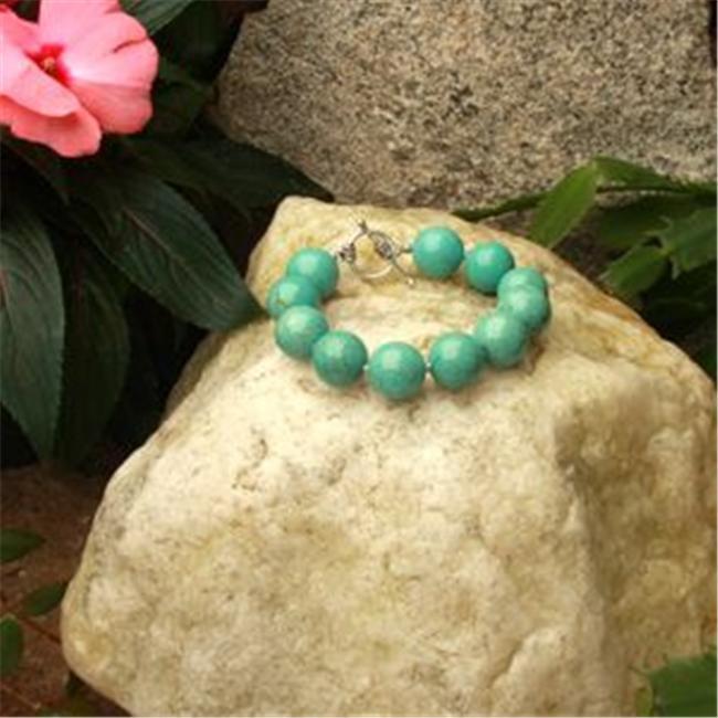 Betty Rocks BBRSTQ101160007T1 7 inch 16mm Round Stabilized Turquoise Bracelet