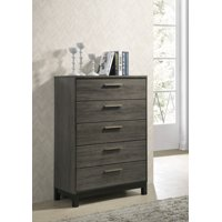 Roundhill Ioana Antique Grey Finish Wood 5 Drawers Chest