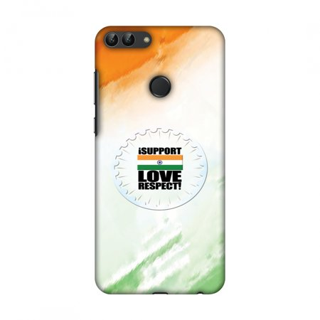 Huawei Enjoy 7S Case, Huawei P Smart Case - I Support Love India,Hard Plastic Back Cover, Slim Profile Cute Printed Designer Snap on Case with Screen Cleaning Kit