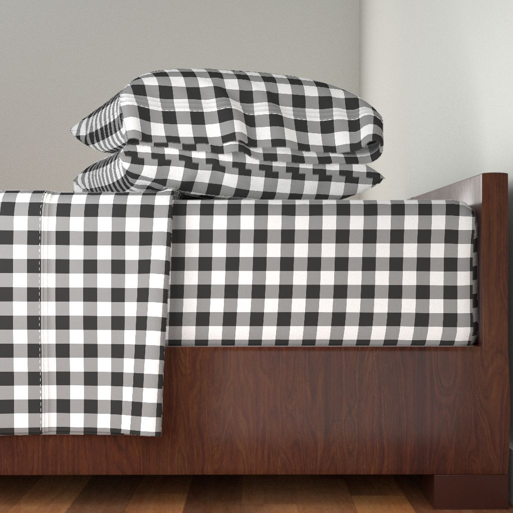 Gingham Black And White Check Plaid 100% Cotton Sateen Sheet Set by Roostery