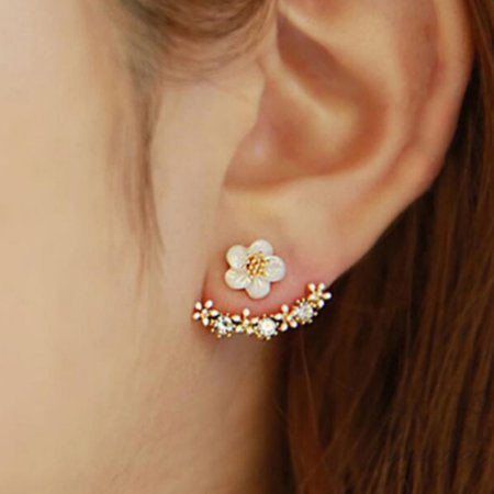 Women Fashion Jewelry Cute Daisies Ear Stud Earrings Gold