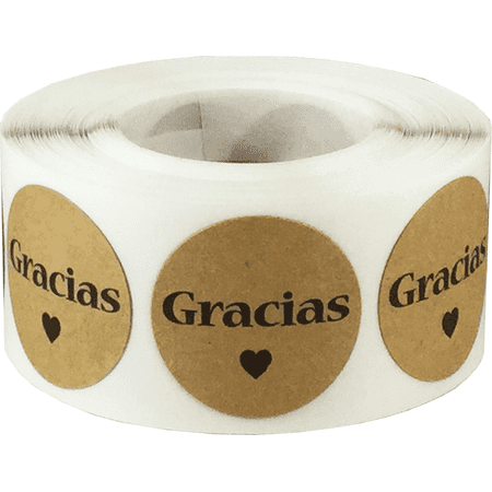 - Gracias Spanish Thank You Natural Kraft Adhesive Stickers 1 Inch Round Circle Dots 500 LabelsPer Roll