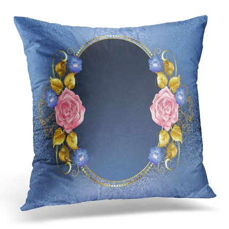 ECCOT Blooming Flower Oval Pink Roses Gold Leaves Violets on Blue Brocade Petals Blossom Pillowcase Pillow Cover Cushion Case 16x16 inch