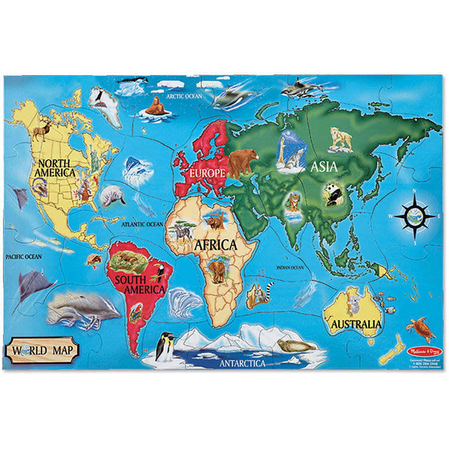 Melissa & Doug World Map Jumbo Jigsaw Floor Puzzle (33 pcs, 2 x 3 feet) by Melissa & Doug