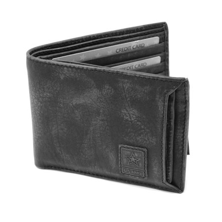 US Army Logo, RFID Protection, Genuine Leather, Bifold Wallet - Washed Finish