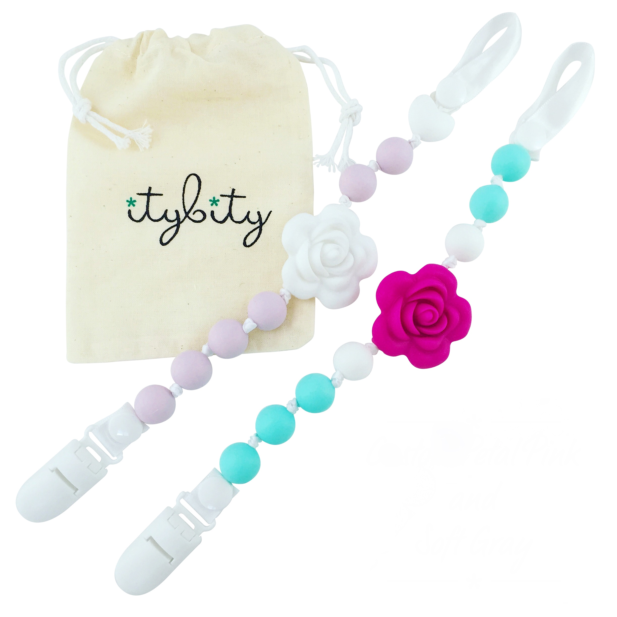 Pacifier Clip Girl, BPA Free Silicone Teether, Set of 2 (Lilac/White/Teal/Pink)