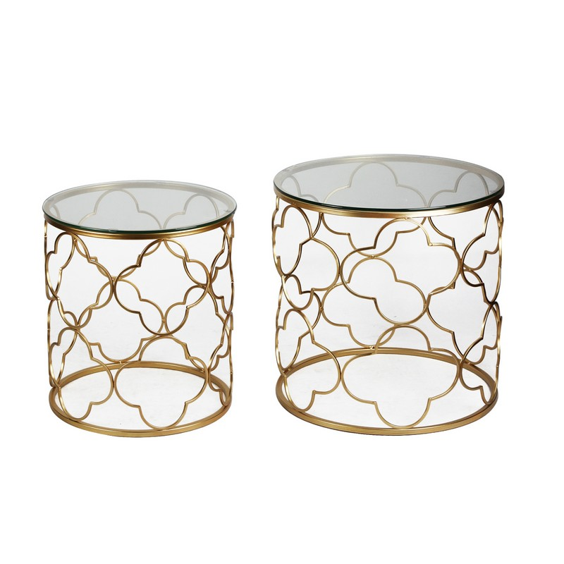Joveco Golden Quatrefoil Designed Accent Metal Round End Table with Glass Top, Set of 2 by