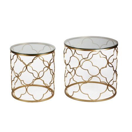 Joveco Golden Quatrefoil Designed Accent Metal Round End Table with Glass Top, Set of 2