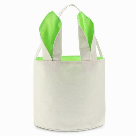 Easter Basket Bag (Cylinder Bunny Ear Easter Basket, Dual Layer Canvas Bag With Bunny Design for Easter Egg Hunt Basket Carrying Eggs Gifts for Kids Holding Toys Books School Project Lunch Box-Cylinder Bag- Green )