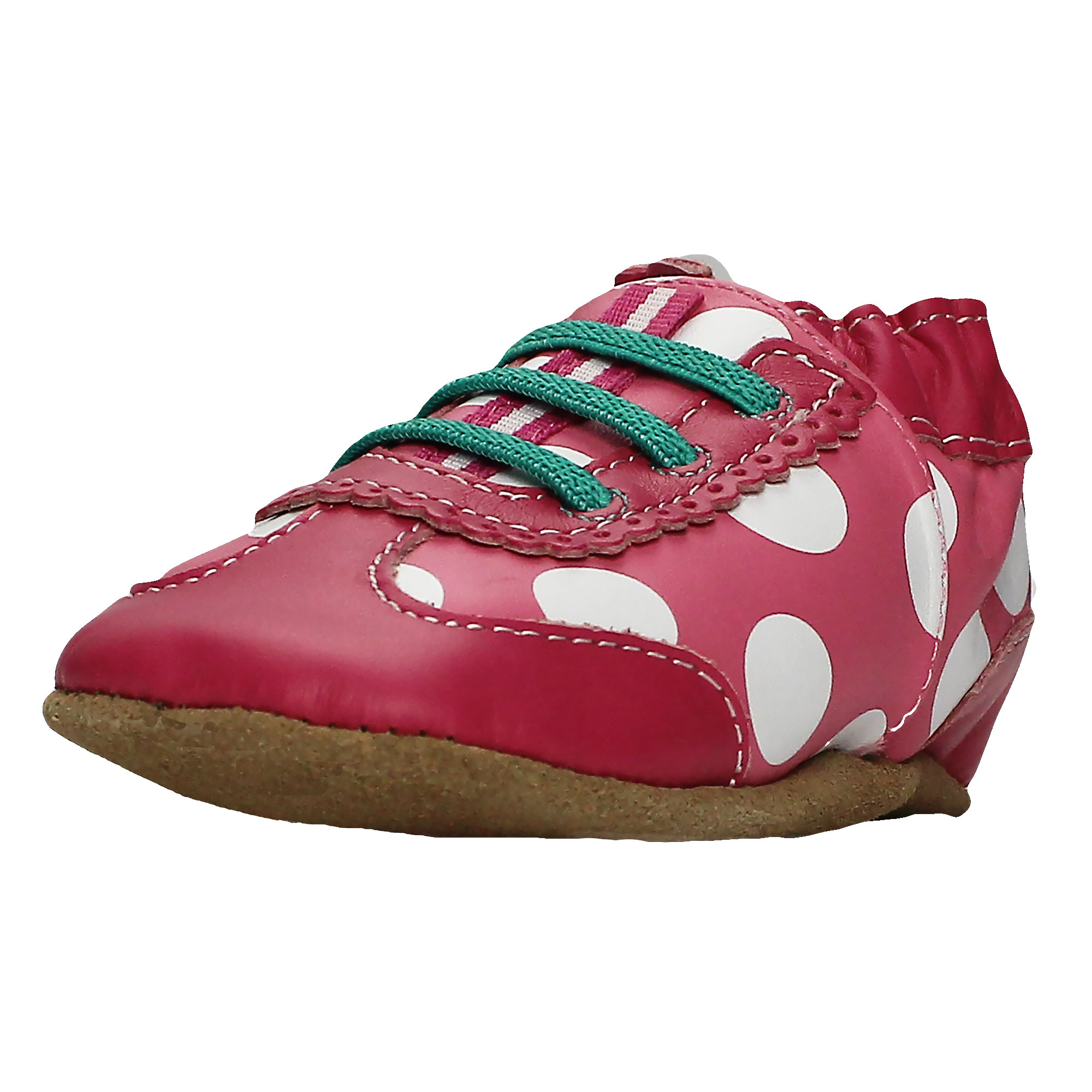d0d6148ba20b1 Robeez Baby-Girls Hot Pink Sneakers Soft Sole Leather Crib Shoes 18-24 Mths  (Infant Pre-Walker Baby Shoes) - First Walking Dotted Dolly Prewalker Suede  ...