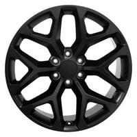 "PartSynergy 22"" Rim fits 1999-2018 GMC Sierra 1500 Snowflake Satin Black 22x9 Aluminum Wheel"