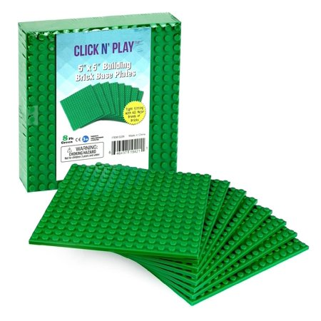 Click N Play Green Building Brick Base Plates   5  X 5    Pack Of 8  Tight Fit   Lego Compatible