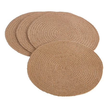 Natural Placemat (Fennco Styles Jute Natural Design 15-inch Round Placemat - Set of 4)