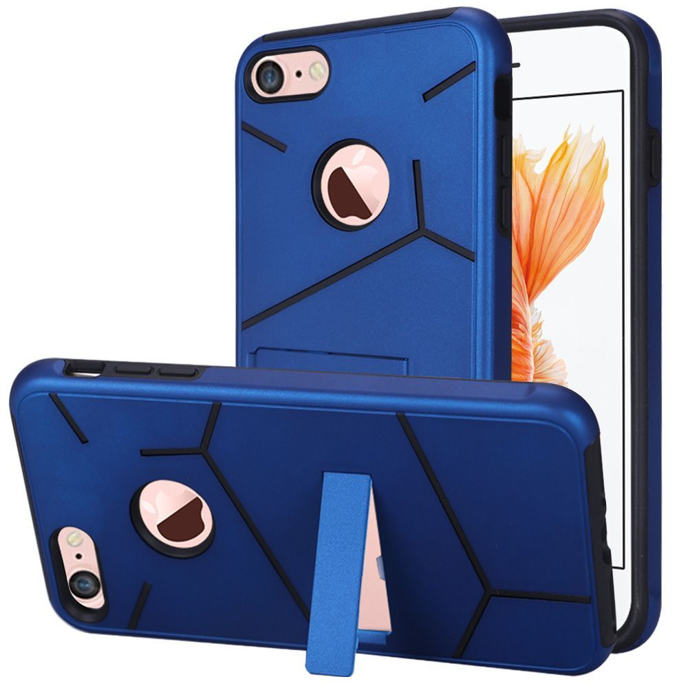 iPhone 8 Case, iPhone 7 Case, by Insten Hard Hybrid TPU Case w/stand For Apple iPhone 8 / iPhone 7 - Dark Blue/Black