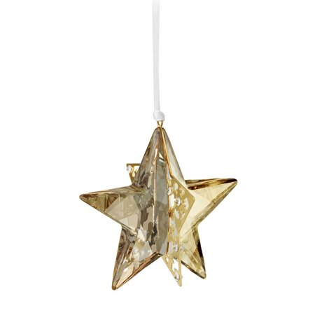 Swarovski Amber Crystal Christmas Ornament STAR GOLDEN SHADOW 3D #1140008 Swarovski Christmas Star