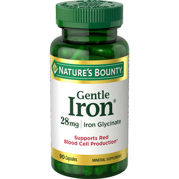 Nature's Bounty® Gentle Iron 28 mg Iron Glycinate, 90 Capsules