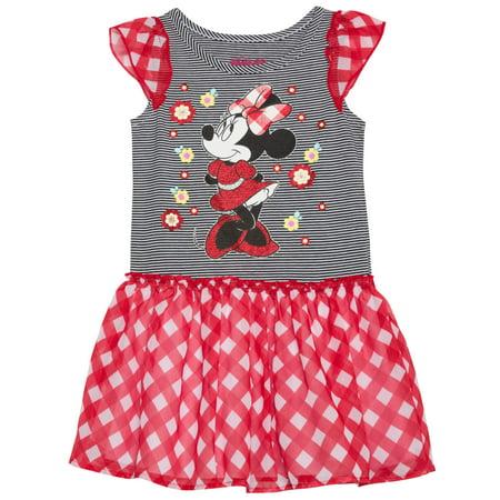 (Minnie Mouse Toddler Girl Flutter Sleeve Chiffon Skirt Dress)
