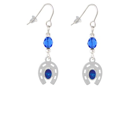 Horseshoe with Oval Blue Crystal Blue Bead French Earrings