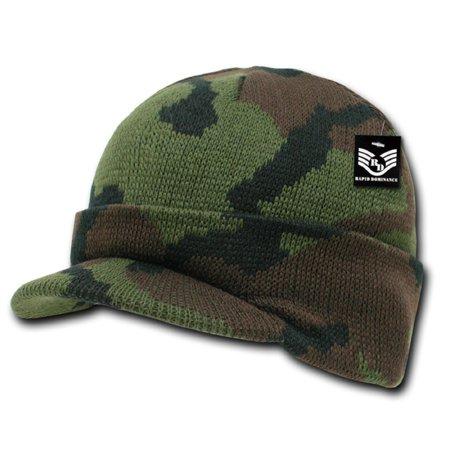 Green Camo Visor Beanie Jeep GI Knit Camouflage Military Warm Winter Cap Hat (Jeep Camo Hat)