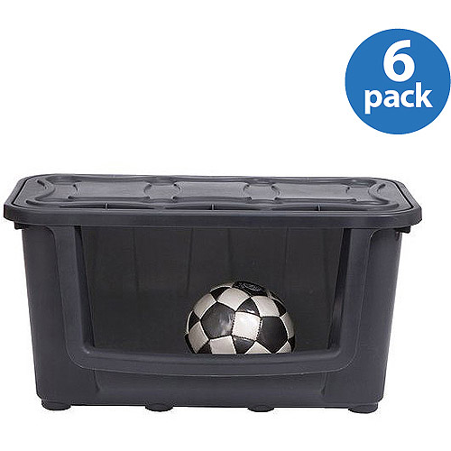 Durabilt Storage Box, Large, Black, Set of 6