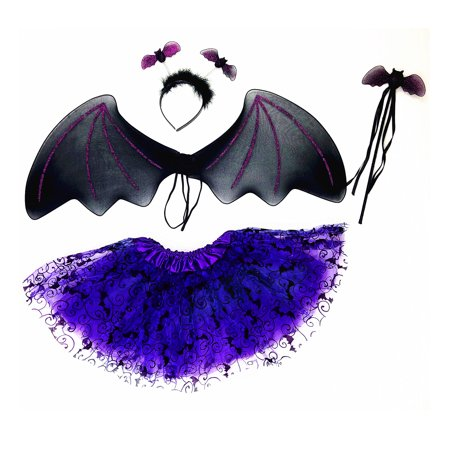 Mozlly Mozlly Black Bat Headband, Glittery Wings, Violet Tutu & Wand Pretend Play Costume for Children One Size Fits Most Shoulder Straps for Easy Fit Halloween Party Trick Or Treat For Kids (4pc - Easy Halloween Treats Kids