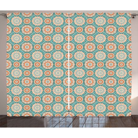 Lotus Curtains 2 Panels Set, Mandala Motifs of the Oriental Cultures with Bohemian Inspired Flower, Window Drapes for Living Room Bedroom, 108W X 63L Inches, Pale Blue Beige Peach, by Ambesonne