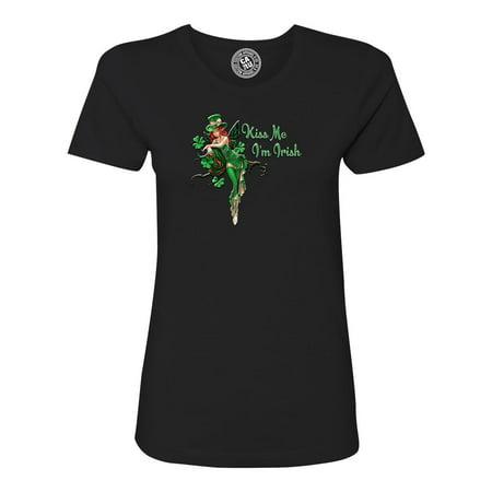 Kiss Me I'm Irish Fairy St Patrick Day Womens Short Sleeve T-Shirt