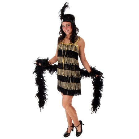 Plus Size Fringe Gold Flapper Costume