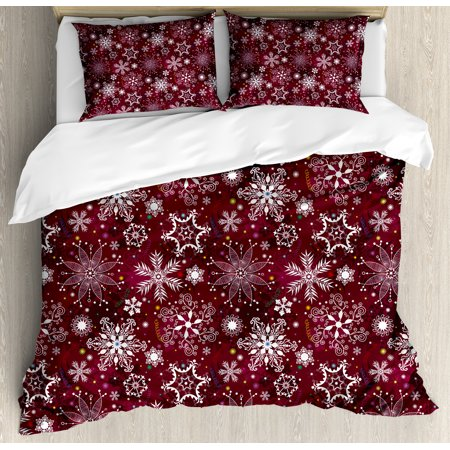 Winter Duvet Cover Set, Floral Flakes with Colorful Swirls Dots and Stars Confetti Xmas Party, Decorative Bedding Set with Pillow Shams, Maroon White Multicolor, by Ambesonne ()